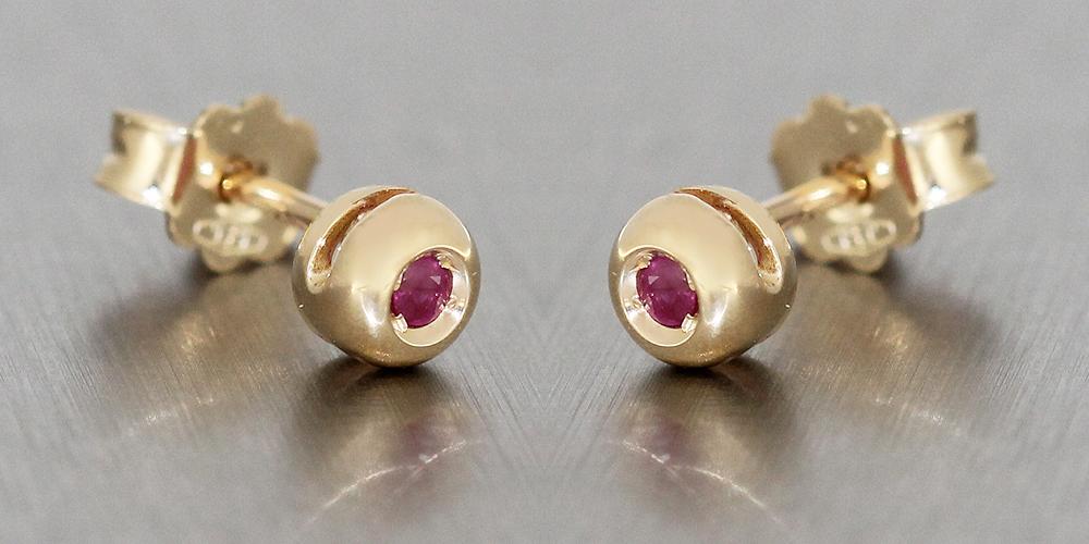 stabile Qualität UK-Shop neuer Stil & Luxus Ohrstecker Gold 585 mit Rubin kleine Goldknöpfe 14 Kt. Rubinohrstecker  Ohrringe