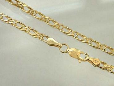 20,5 cm flaches breites Armband Gold 585 Goldarmband diamantiert Armkette 14kt