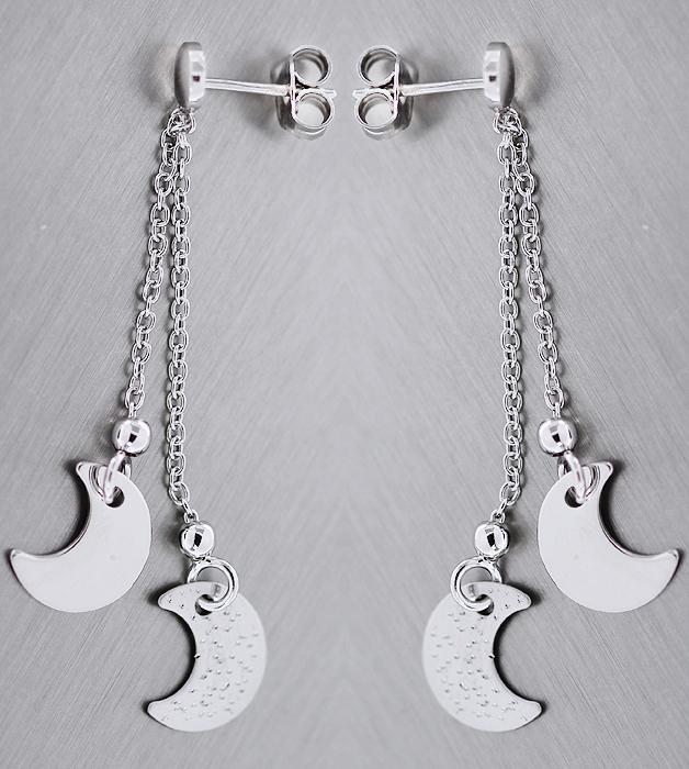 Silbermond Ohrhänger Silber 925 Ohrstecker lange Silberohrhänger Mond Ohrringe